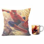 Avengers superhero spidermen design combo set of 12x12 inch satin cushion and ceramic coffee mug 350 ml gift for kids. 2 - Product GuruJi