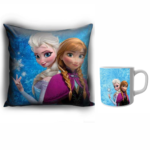 Elsa princess designer cushion with cushion cover with filler and white ceramic coffee mug | Cartoon Elsa princess - Pillow Cover: 12 x 12 inch & coffee mug: 350 ml combo pack gift for kids, brithday gifts. 1 - Product GuruJi