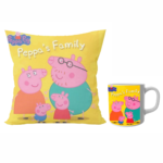Peppa pig family designer cushion with cushion cover with filler and coffee mug | Cartoon peppa pig family- Pillow Cover: 12 x 12 inch & coffee mug: 350 ml combo pack. 2 - Product GuruJi