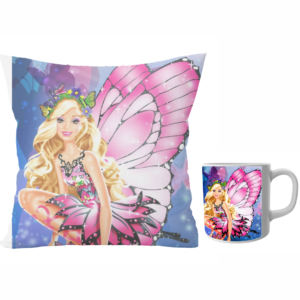 Barbie doll beautiful design cushion with cushion cover with filler and coffee mug   Barbie doll - Pillow Cover: 12 x 12 inch & coffee mug: 350 ml combo pack. 8 - Product GuruJi