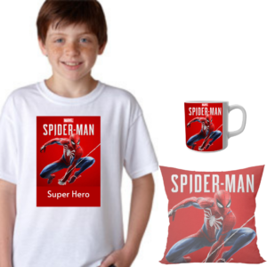 Product guruji Spidermen White Round Neck Regular Fit Premium Polyester Tshirt with cushion and mug. 3 - Product GuruJi