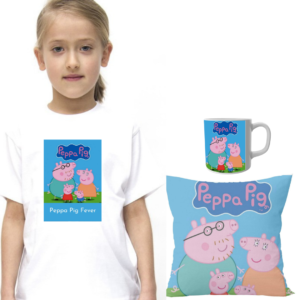 Product guruji Peppa Pig White Round Neck Regular Fit Premium Polyester Tshirt with Cushion and Mug. 3 - Product GuruJi