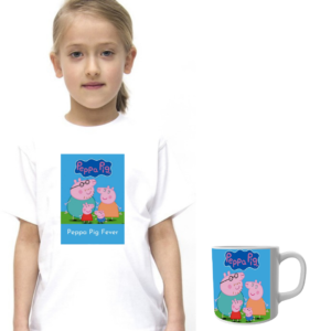 Product guruji Peppa Pig White Round Neck Regular Fit Premium Polyester Tshirt with Mug. 11 - Product GuruJi