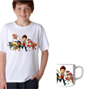 Product Guruji Paw Patrol White Round Neck Regular Fit Premium Polyester Tshirt with Mug Combo, Best Gift for Kids 12 - Product GuruJi