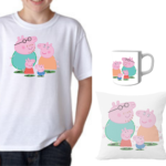 Product Guruji Peppa Pig White Round Neck Regular Fit Premium Polyester Tshirt with Cushion and Mug,. 1 - Product GuruJi