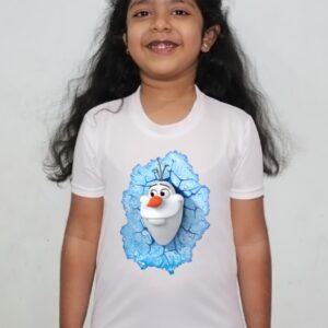 Cartoon Design White Round Neck Regular Fit Premium Polyester Tshirt for Girls. 8 - Product GuruJi