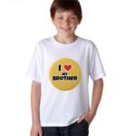 Product guruji 'I LOVE MY BROTHER' Text Print White Round Neck Regular Fit Premium Polyester Tshirt. 1 - Product GuruJi