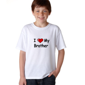 Product guruji 'I LOVE MY BROTHER' Text Print White Round Neck Regular Fit Premium Polyester Tshirt For Kids. 11 - Product GuruJi