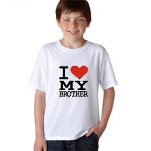 Product guruji 'I LOVE MY BROTHER' Text Print White Round Neck Regular Fit Premium Polyester Tshirt For Kids/Gifts. 12 - Product GuruJi
